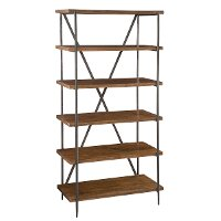 36 Inch Mango Wood Medium Brown Bookcase - Bedford