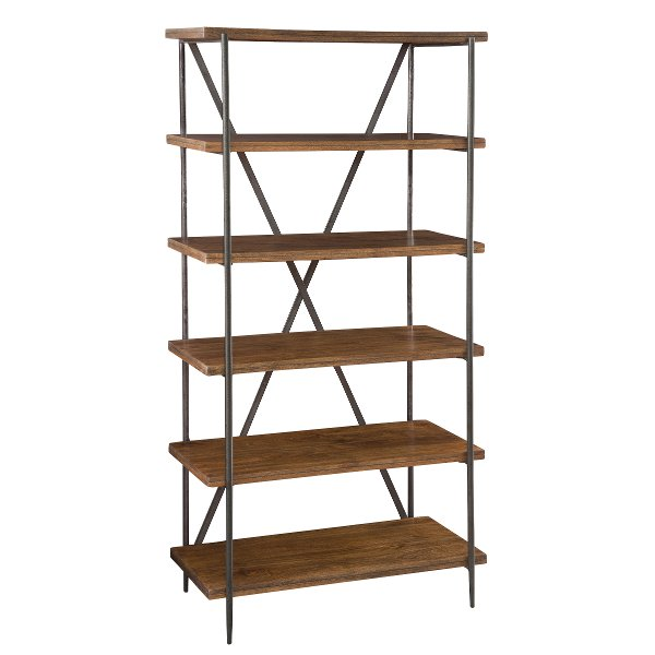36 Inch Mango Wood Medium Brown Bookcase