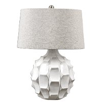 White Scalloped Ceramic Table Lamp