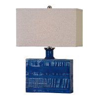Distressed Blue Glaze Table Lamp