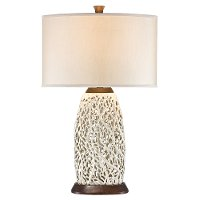 Pearl White Wooden Table Lamp
