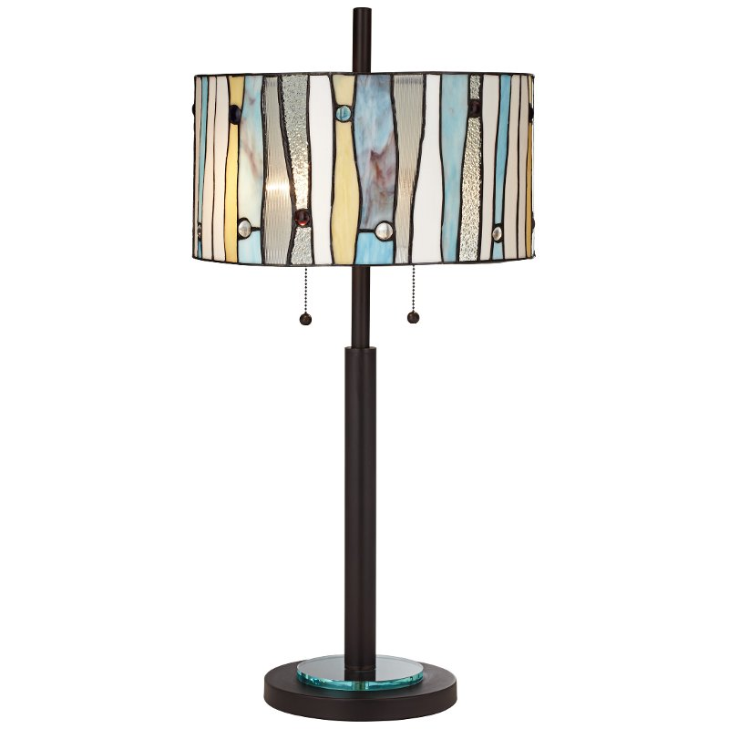 Dark Bronze Table Lamp with Stained Glass Shade