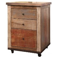 Antique Brown 3 Drawer Wood File Cabinet - Antique