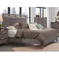 Old Gray Rustic Contemporary Queen Size Bed - Bohemian