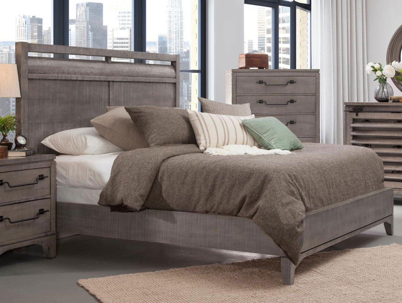 Rustic Contemporary Old Gray 6 Piece King Bedroom Set Bohemian Rc Willey Furniture Store