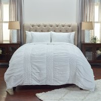 White Cotton King Quilt Bedding Collection - Carly