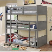 Gray Casual Classic Triple Twin Bunk Bed - Davidson