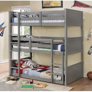 gray casual classic triple twin bunk bed davidson