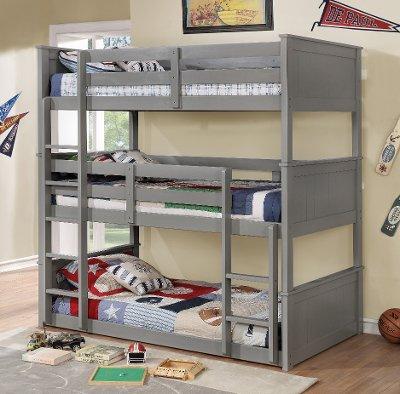 Gray Casual Clic Triple Twin Bunk Bed Davidson