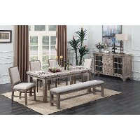 Weathered Pine 6 Piece Dining Set - Interlude II