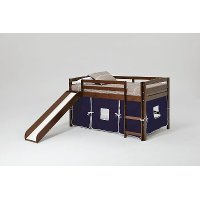 Twin Chocolate and Blue Tent Bed with Slide - Pine Ridge