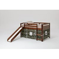 Twin Chocolate and Camo Tent Bed with Slide