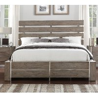 Contemporary Gray & Silver Queen Size Bed - Buena Vista