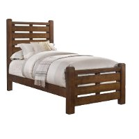 Barley Brown Rustic Contemporary Twin Bed - Logan