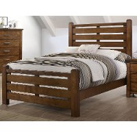 Barley Brown Rustic Contemporary Full Bed - Logan