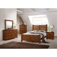Barley Brown Rustic Contemporary 4 Piece Full Bedroom Set - Logan