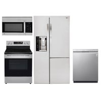 KIT LG 4 Piece Electric Kitchen Appliance Package with Side by Side Refrigerator - Stainless Steel