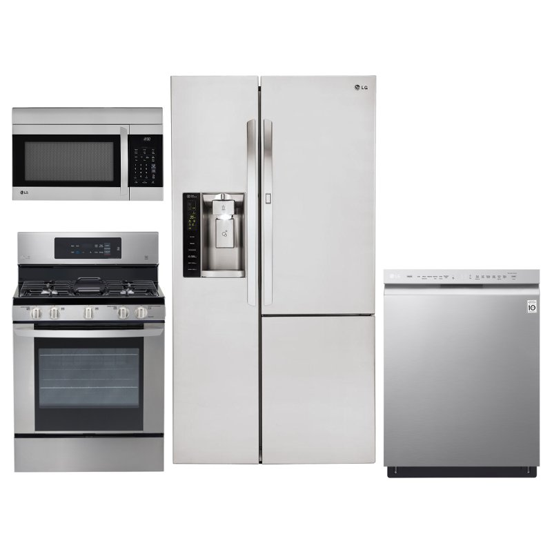 Lg 4 Piece Kitchen Appliance Package With Gas Range And Door In Door