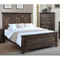 Classic Traditional Antique Brown Queen Size Bed - Campbell