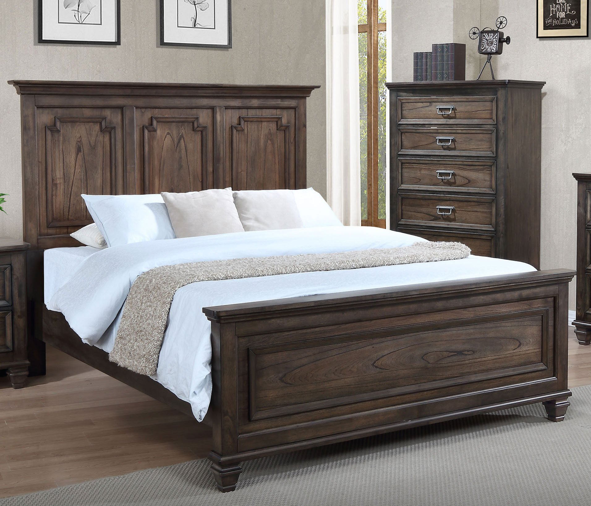 Antique brown classic traditional 6 piece king bedroom set for Classic traditional furniture