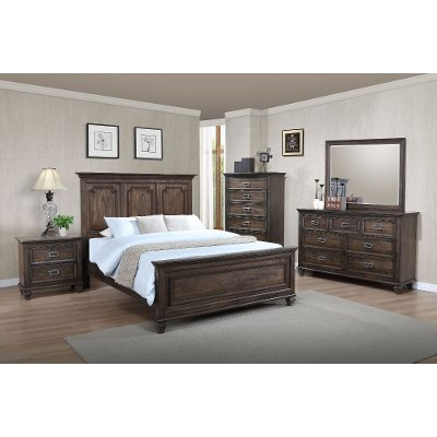 Antique Brown Classic Traditional 6 Piece King Bedroom Set Campbell