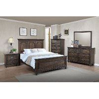 Classic Traditional Antique Brown 6 Piece King Bedroom Set - Campbell