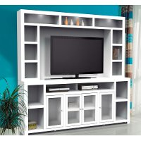 2 Piece White Entertainment Center - Brooklyn