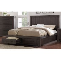 Basalt Gray Casual Classic King Storage Bed with Storage- Heath