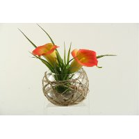 Orange Calla Lilies Arrangement in Bowl with Sea Grass
