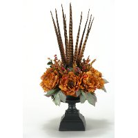 144073 Peonies and Feather Arrangement in a Pedestal Urn