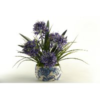 159053 Blue Agapanthus Arrangement In Oval Blue and White Bowl