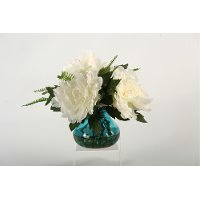 Cream and Pink Peonies Arrangement in a Blue Glass Vase
