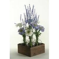 White and Light Blue Scabiosa Arrangement in Jars and Crate
