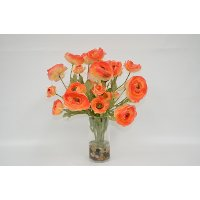 Orange Ranunculus Arrangement In Clear Vase