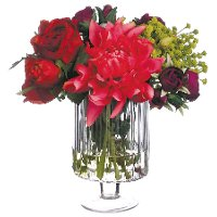 Dahlia and Rose Arrangement in a Clear Vase