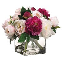 Grand Peony Arrangement in Square Clear Vase