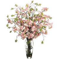Cherry Blossoms Arrangement in Clear Vase