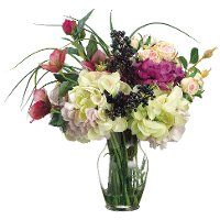 Helleborus and Roses Arrangement In a Clear Vase