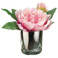 Faux Pink Peony Arrangement in a Glass Vase
