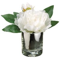 Faux White Peony Arrangement in a Glass Vase