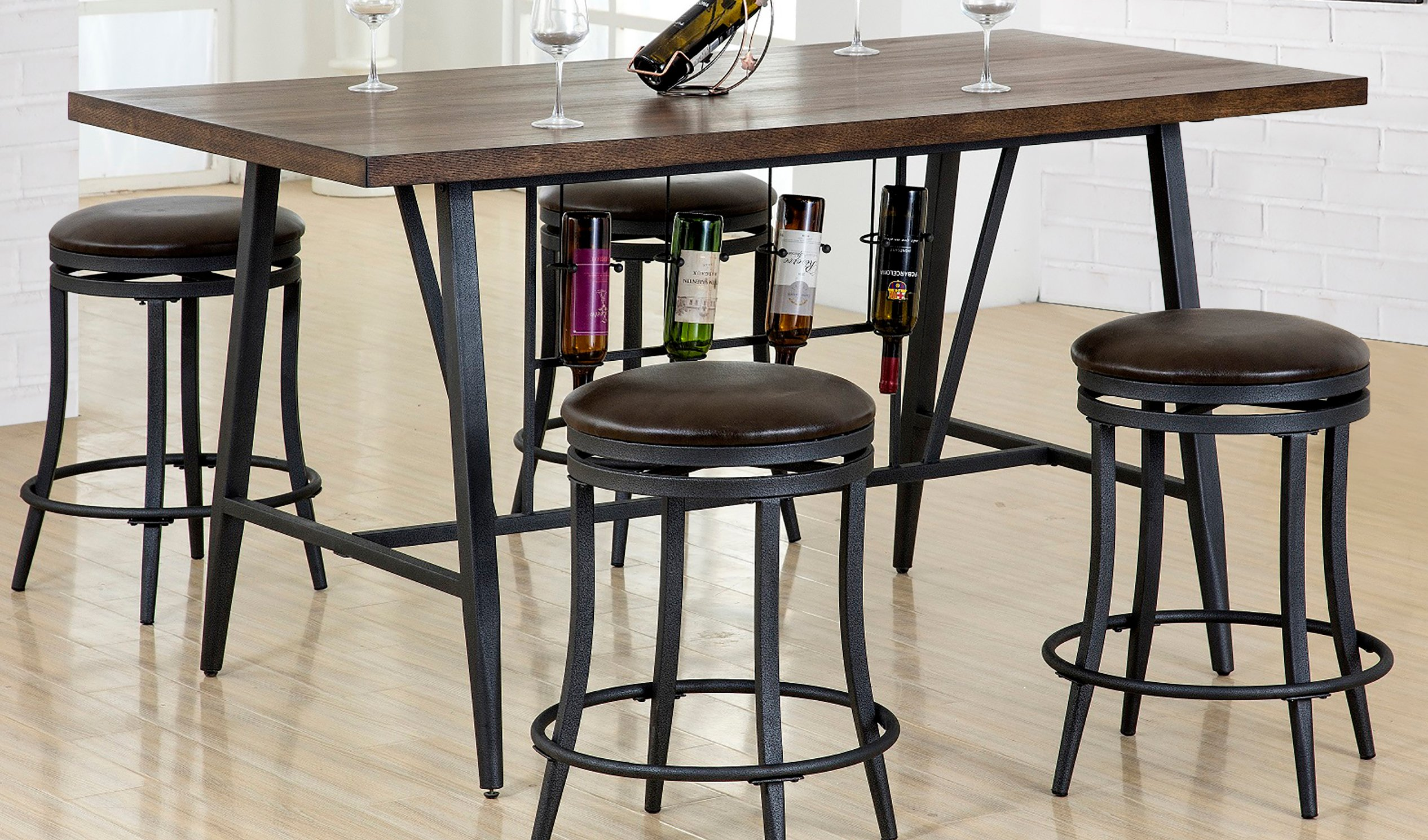 Brown and metal 5 piece dining set with wine rack david collection brown and metal dining table david workwithnaturefo