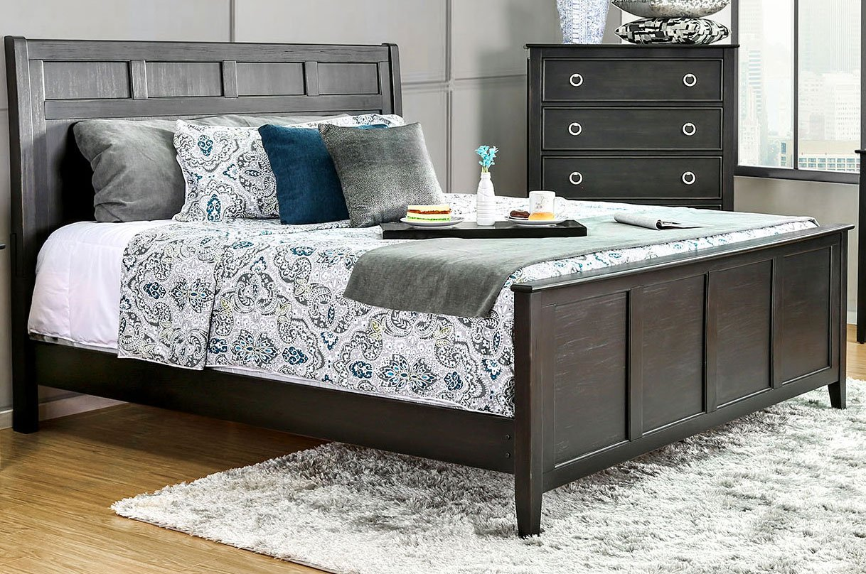 Contemporary brushed black 6 piece queen bedroom set - Contemporary king size bedroom furniture ...