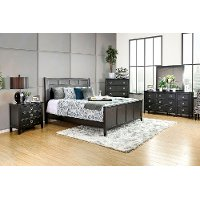 King Bedroom Sets Black gray & black contemporary 6 piece california king bedroom set