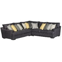 Contemporary Charcoal Gray 3 Piece Sectional Sofa - Piccolo