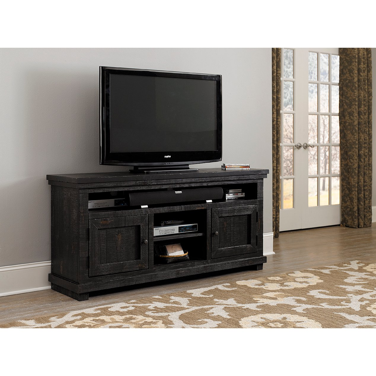 ... 64 Inch Distressed Black TV Stand   Willow