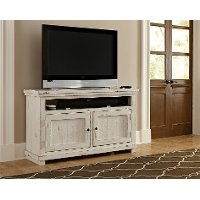 54 Inch Distressed White TV Stand - Willow