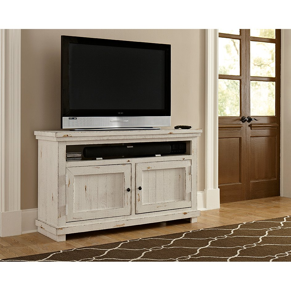 distressed white tv stand 54 Inch Distressed White TV Stand   Willow | RC Willey Furniture Store distressed white tv stand