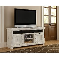 64 Inch Distressed White TV Stand - Willow