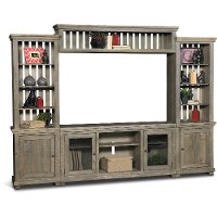 4 Piece Distressed Gray Brown Entertainment Center