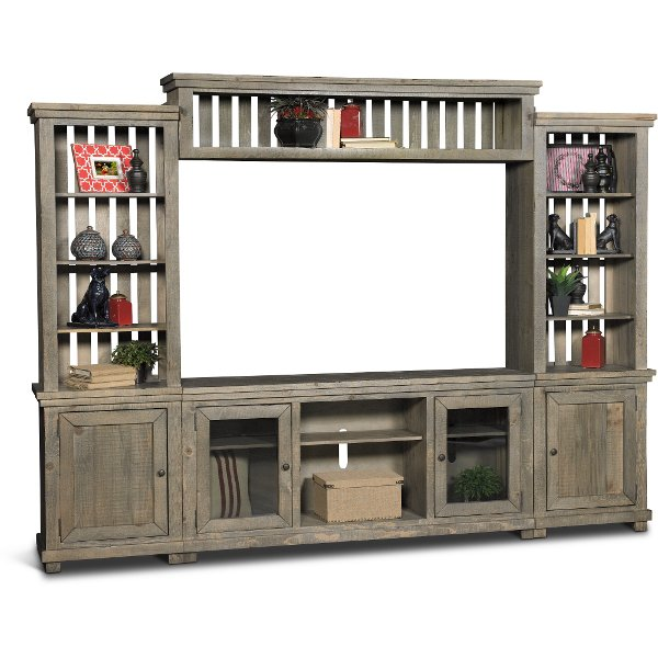 Distressed Gray 4 Piece Rustic Entertainment Center Willow Gray  Entertainment Center58